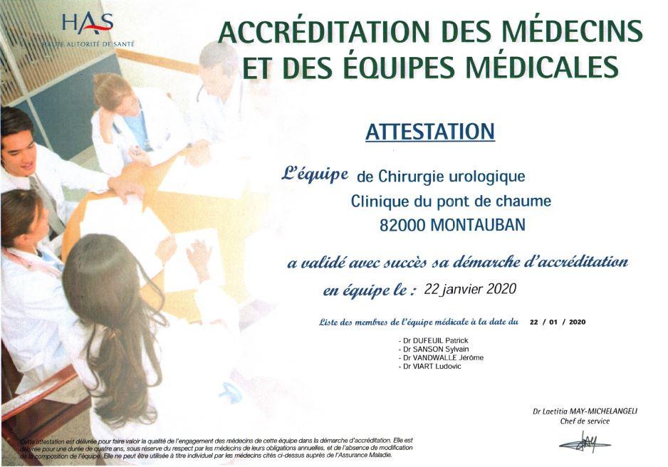 Accréditation Médecins Uropole Montauban